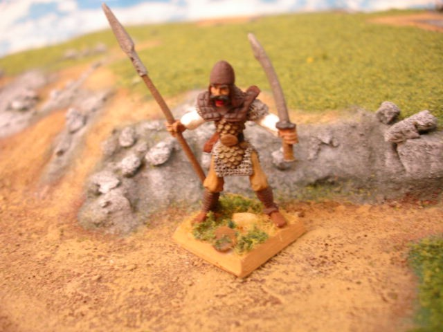 Fighter with 2 weapons painted miniature